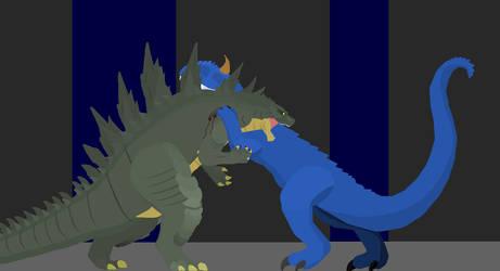 King Carnotaurus vs Godzilla by k92562