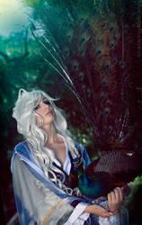 Holding a peacock by bellatrixaiden