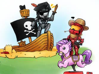 Space Pirates VS Rainbow Cowboys by No-pe
