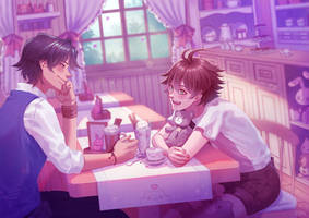 Lukas x Xalvador in the cafe (Comm) by loveedreams