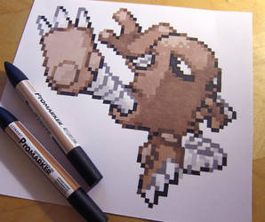 Hitmonlee RSE sprite drawing by Skudde