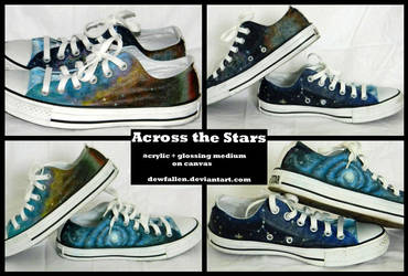 Galaxy Shoes: Painted Converse by dewfallen
