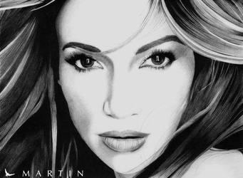 Jennifer Lopez portrait by Martin--Art
