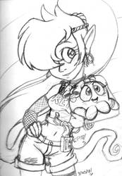80s Shantae Sketch by ElectricPoodle