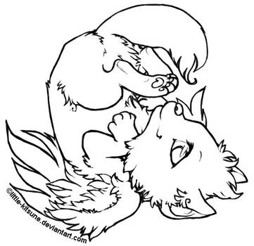 Winged Wolf Cub - Lineart by little-kitsune