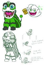 Luigi Lion Dancer Powerup Concept by arcanineryu