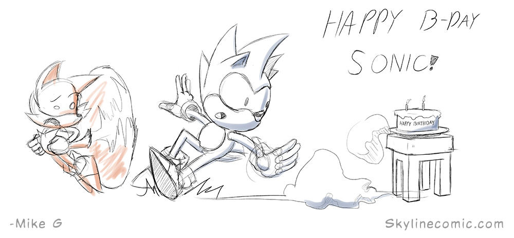 Quick doodle for the birthday boy Sonic (late) by Gx3RComics