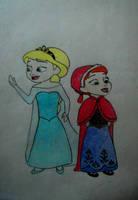 Little Elsa and Anna by himymRobinStinson