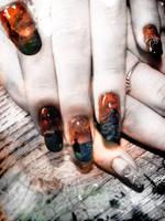 'Enter Mordor' nail art inspired by LotR by Undomiele