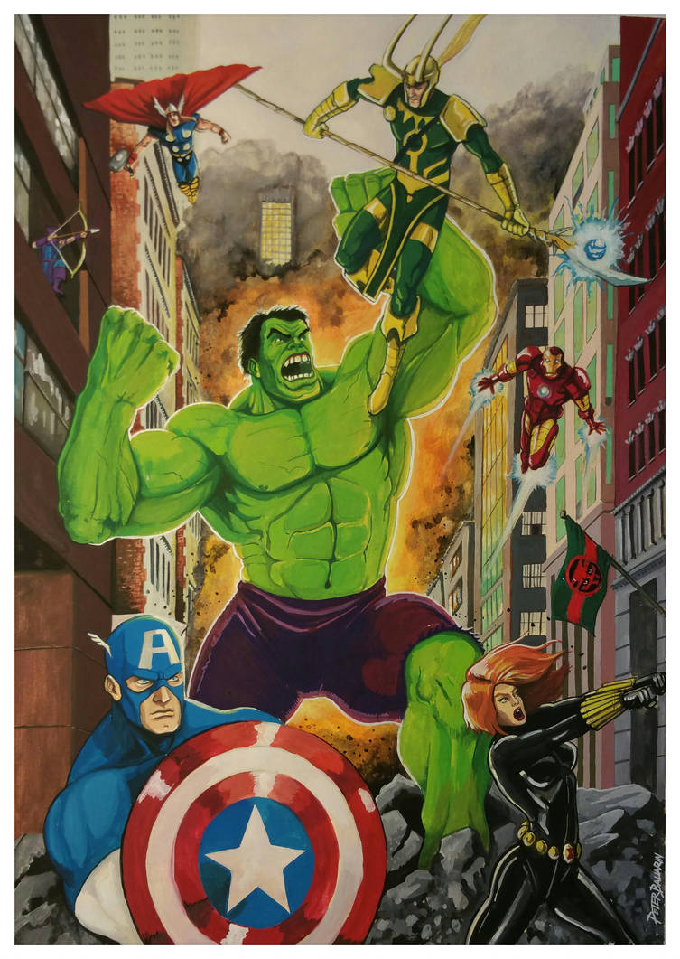 Avengers vs Loki by Melquizedec