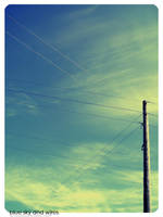 blue sky and wires. by hystericalemotion