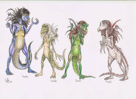 Original skeksis characters-young colours by SkekLa