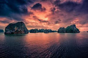 Sunrise over Halong Bay, Vietnam by Stefan-Becker
