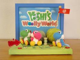 Yoshi's Woolly World yarn amiibo display diorama by NBros
