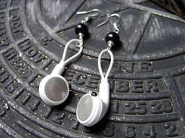 iPod earphones earrings by kickthebucket