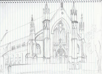 St. Patrick's Church Sketch by elrunethe2nd