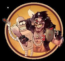 Lobo and Bender having fun by skinygalaxier