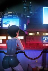 Cyberpunk City with Oscar Kim (OC) by Ra4s