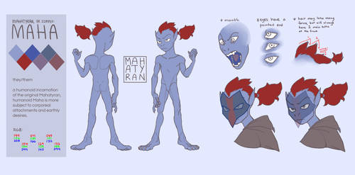 Maha (humanoid) - reference sheet by mahatyran