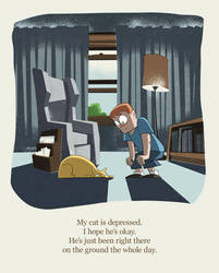My Cat is Depressed by mattwileyart