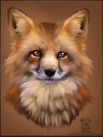 Speed-painting Fox Portrait by RaziKitsune
