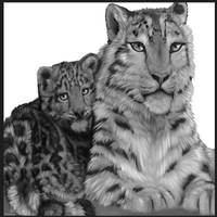 Snow Leopard and her Cub by RaziKitsune