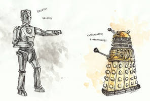 Cyberman vs. Dalek by thegreatperhapss