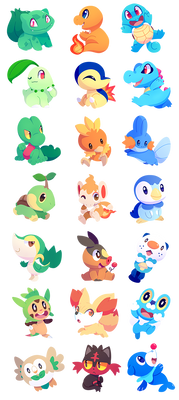 Pokemon Starters by ChocoChaoFun