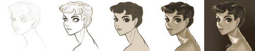 Step-by-step of Audrey Hepburn's drawing by gabrielleandhita