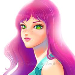 Girl With Pink Hair Final by gabrielleandhita