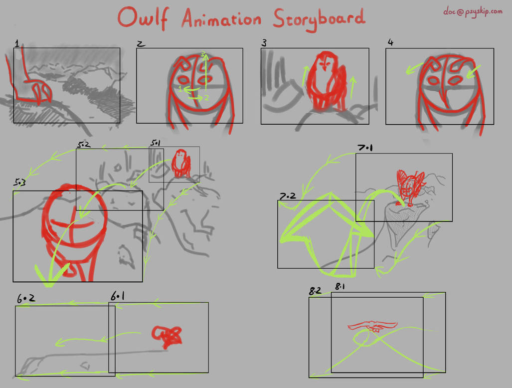 Owlf: Animation Storyboard by PSYSpace