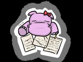 Sleepy hippo in her study by Haxzure