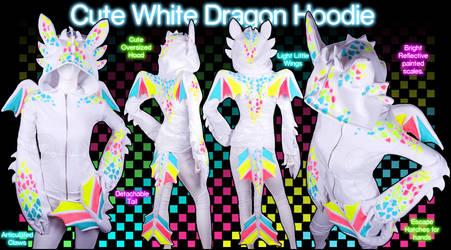 Cute White Dragon Hoodie by KayPikeFashion