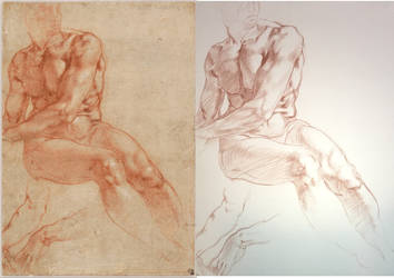 Mastercopy-MIchelangelo Drawing by whitefennec