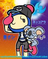 Bomberman x Pokemon: Blue Bomber and Komala by CaitlinTheStarGirl