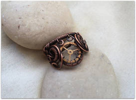 Steampunk Copper Ring by MayaHandmade