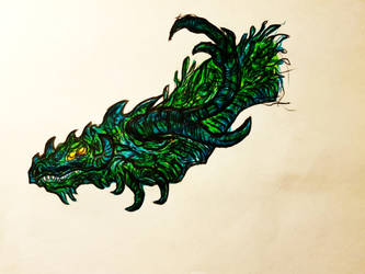 Green dragon sketch by DARKRAG0N