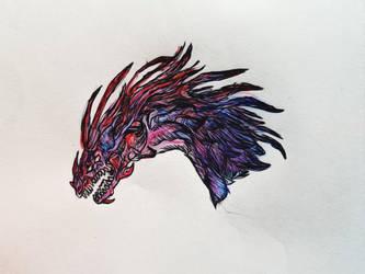 Purple dragon sketch by DARKRAG0N