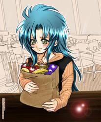 + Kanon picking up groceries + by Sagakure