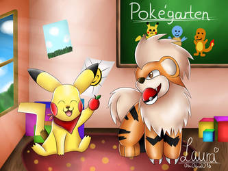 Pokemon - Pikachu and Growlithe by DeerCrowShadow