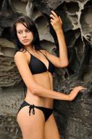 Teigan - black bikini at rocks 1 by wildplaces