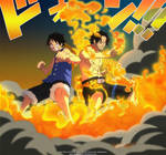 Ace and Luffy - One Piece 572 by goldenhans