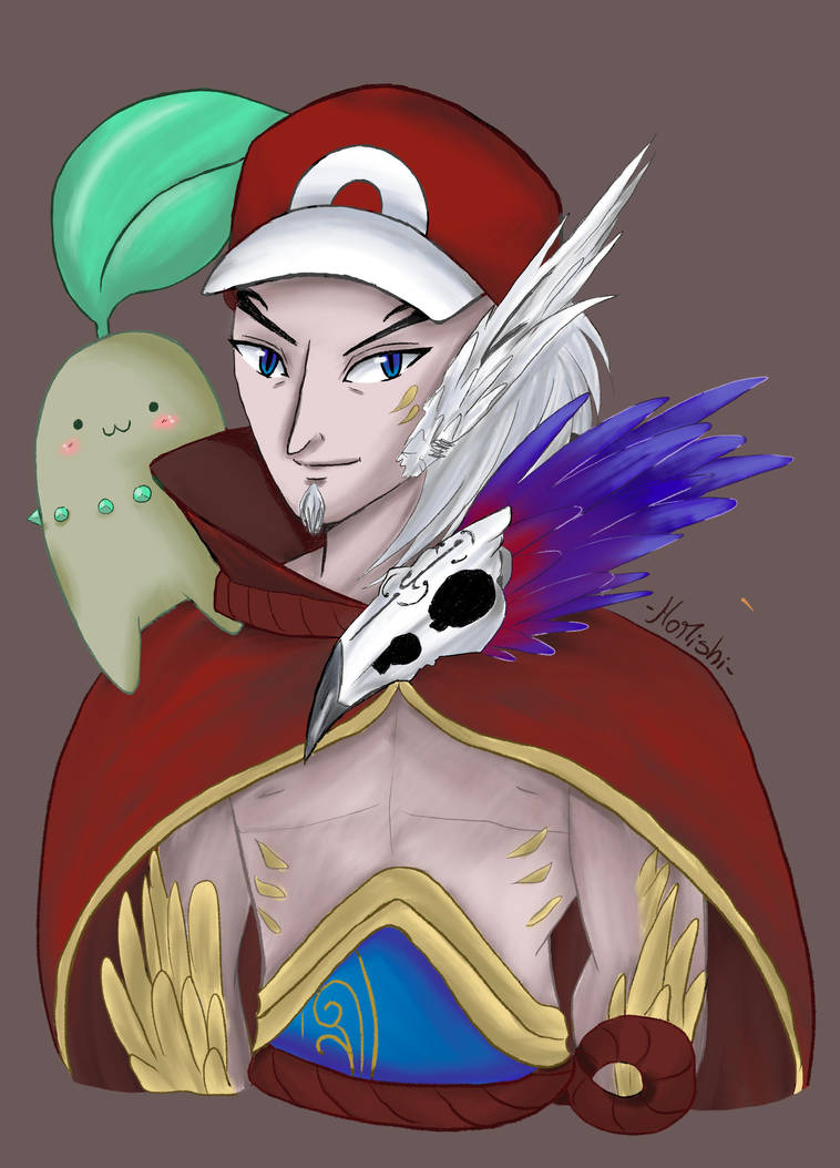 Rakan and Chikorita Commission by Homishi by Homishimishi