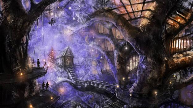 Winter Treehouse by AlexKaiser