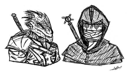 DnD - Character Portrait Heads (Rough Lines) 01 by SixteenHeadedSix