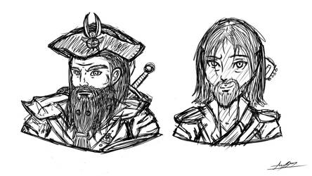 DnD - Character Portrait Heads (Rough Lines) 02 by SixteenHeadedSix