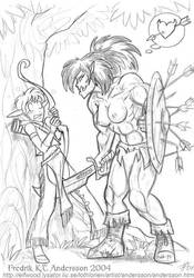 Elf meets Orc (2004) by DerangedMeowMeow
