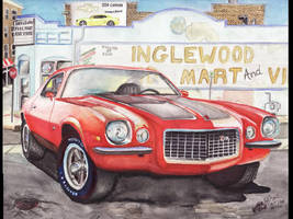 1971 Chevy Camaro In Inglewood by FastLaneIllustration