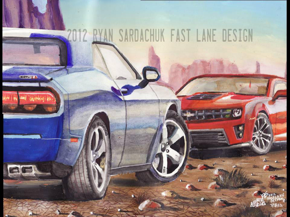The Face Off Modern Muscle Car Painting By Fastlaneillustration On