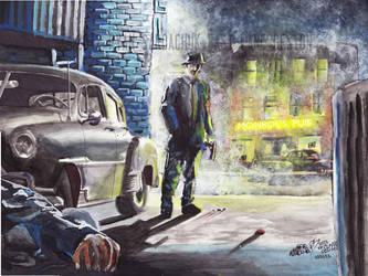 The Alley Killer (50s Film Noir Inspired Painting) by FastLaneIllustration